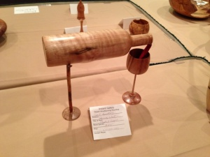 "Dale Gillaspy's very creative wood turning titled ""Pouring Wine"""